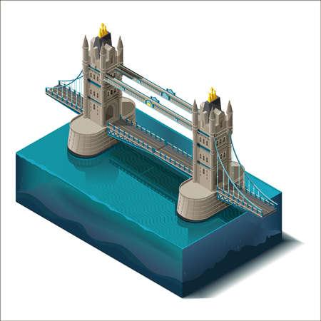 river thames: Vector icons set.Bridge over the river,design, unit structure. 3d concept.Tower Bridge Rd, London Illustration