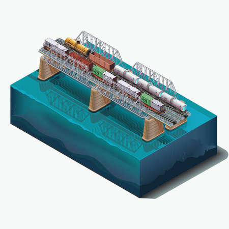bridge over water: Vector set elements, Railway bridge over the river. Cars, tanks, cargo delivery. Illustration
