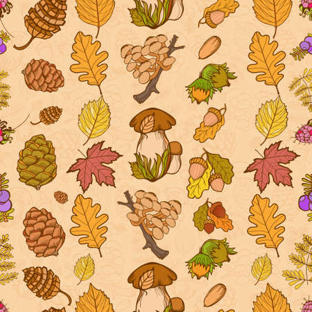 acorn seed: Seamless color wild elements of nature, mushrooms, buds, plants, acorns, leaves. Vector drawing autumnal theme.