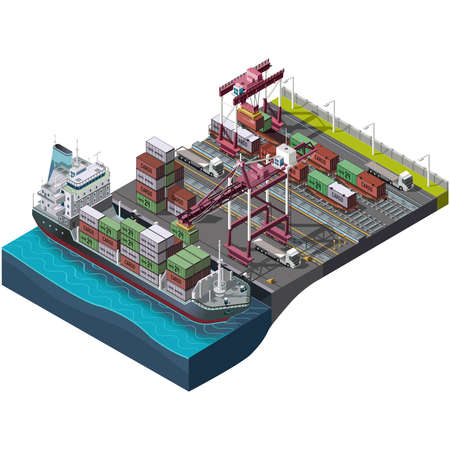 Sea and rail transportation of goods,delivery cargo.Vector set with industrial construction cranes.Loading,unloading of containers.Territory of the port warehouse.Shipping process.3D isometric concept Vettoriali