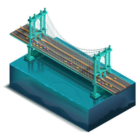 river cartoon: Vector icons set.Bridge over the river,design, unit structure. 3d concept. Manhattan Bridge, New York, NY