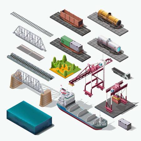 Vector iconen set.Structure Geïsoleerde industriële thema's. Boot, auto, vrachtwagen, trein, brug, container. Stock Illustratie