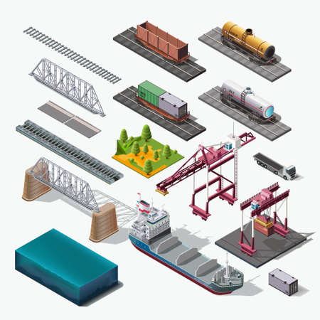 icon 3d: Vector icons set.Structure Isolated industrial themes. Boat, car, truck, train, bridge, container. Illustration