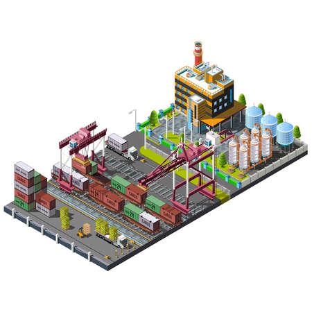 paesaggio industriale: Vector set con gru industriali sul ferrovia che fanno carico, consegna e scarico dei container. Magazzino servizio ferroviario. Processo di spedizione. Concetto 3D isometrico.