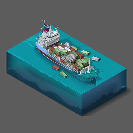 flooding: Vector icons set elements,the process of immersion, flooding of the ship, barge at sea or ocean at the time of transportation of cargo. The accident at sea