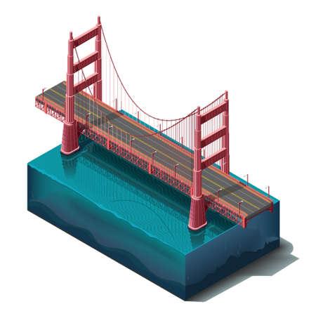 Vector iconen set.Bridge over de rivier, het ontwerp, unit structuur. 3D-concept. Stock Illustratie