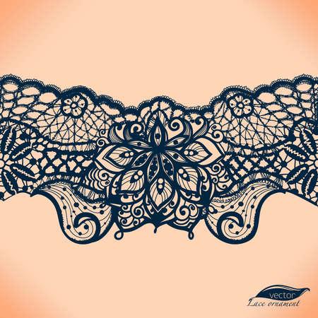 Abstracte kant lint naadloos patroon met elementen bloemen. Sjabloon frame ontwerp voor de kaart. Kant. Kan gebruikt worden voor de verpakking, uitnodigingen en template.Vector kant ornament. Arabisch patroon. Vector Illustratie