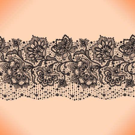 Lace ribbon seamless pattern with elements flowers. Arabic pattern.