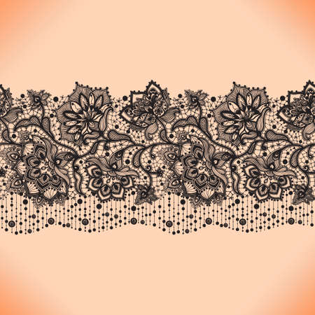 fragility: Lace ribbon seamless pattern with elements flowers. Arabic pattern.