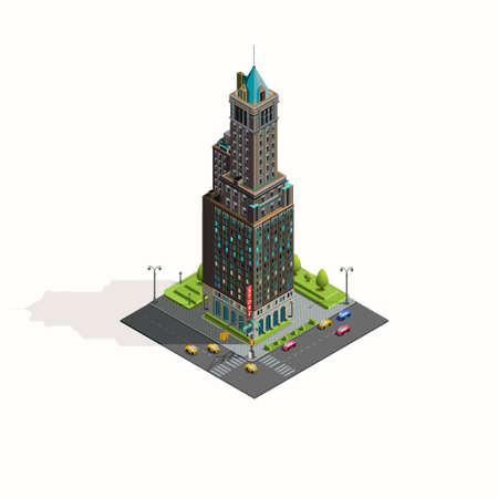 overhang: Isometric icon skyscraper street and landscape