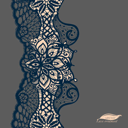 lace pattern: Abstract lace ribbon seamless pattern with elements flowers. Template frame design for card. Lace Doily. Can be used for packaging, invitations, and template.Vector lace ornament. Arabic pattern. Illustration