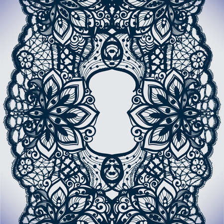 abstract flowers: Abstract lace ribbon seamless pattern with elements flowers.