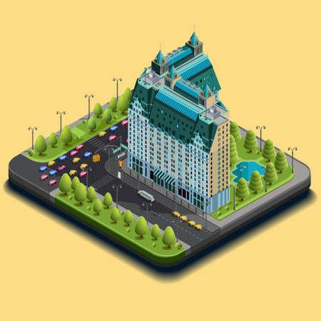 等尺性のアイコンの概念は建物およびホテルを表す道路から構成されます。