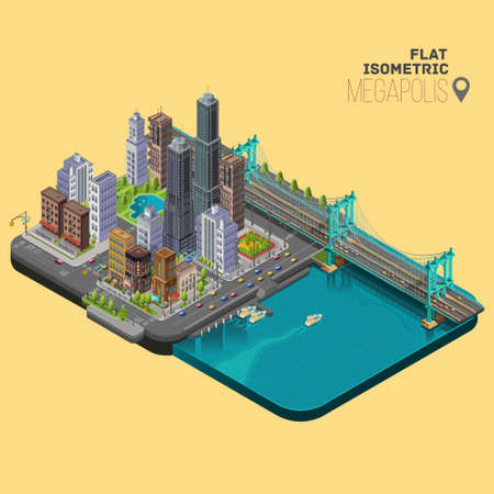 megapolis: Isometric city,megapolis concept with office buildings