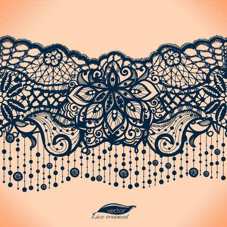 抽象的なレース リボン シームレス パターン要素の花。 写真素材 - 51376176