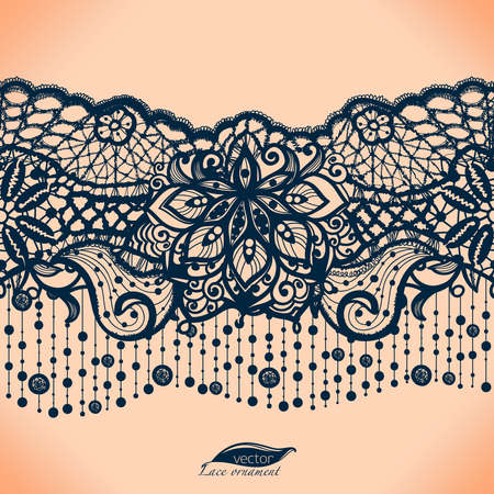 Streszczenie koronki wstążki szwu z elementami kwiatów. Ilustracje wektorowe