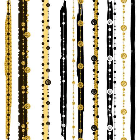 Reticoli senza giunte con bianche linee nere oro e punti, a righe, scatole regalo e puntini.