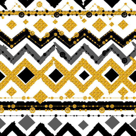 Seamless patterns with white, black, gold, zigzag lines and points, striped, gift boxes and dots.