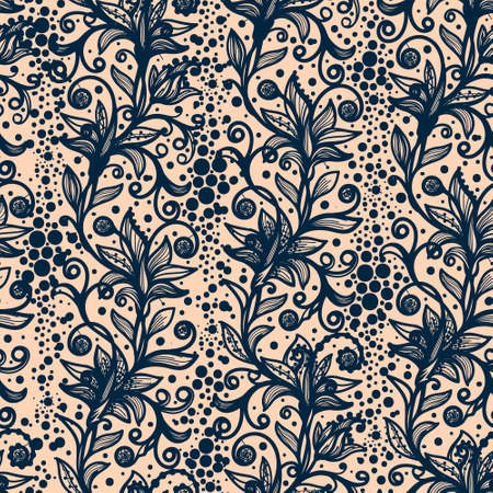 infinitely: Abstract seamless lace pattern with flowers and butterflies. Infinitely wallpaper, decoration for your design, lingerie and jewelry. Your invitation cards, wallpaper, and more.