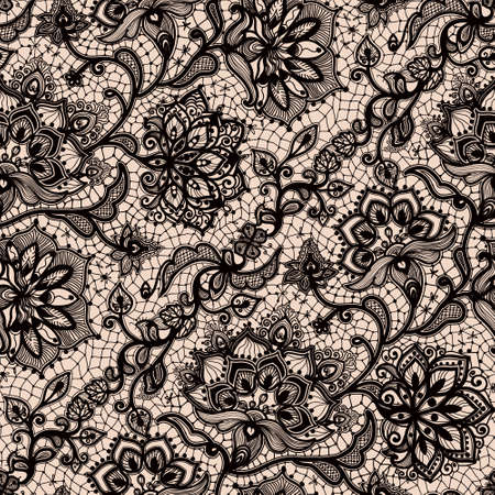 Abstract seamless lace pattern with flowers and butterflies. Infinitely wallpaper, decoration for your design, lingerie and jewelry. Your invitation cards, wallpaper, and more. Фото со стока - 51376189