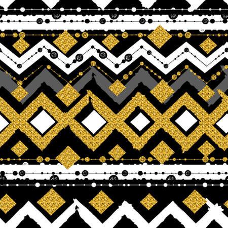 ruban noir: Seamless patterns avec blanc,, l'or, des lignes noires en zigzag et points, rayures, coffrets cadeaux et des points. Illustration