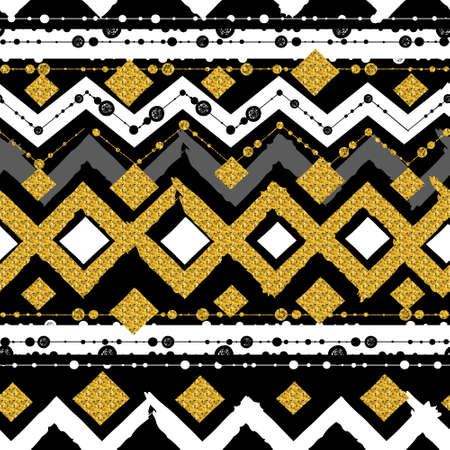 ladylike: Seamless patterns with white, black, gold, zigzag lines and points, striped, gift boxes and dots. Illustration