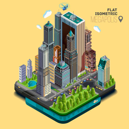 Isometric city, part of the icons consisting of buildings.