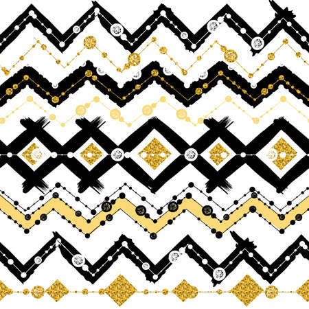 Seamless ethnic patterns with white, black, gold, zigzag lines and points, striped, gift boxes and dots. Illustration