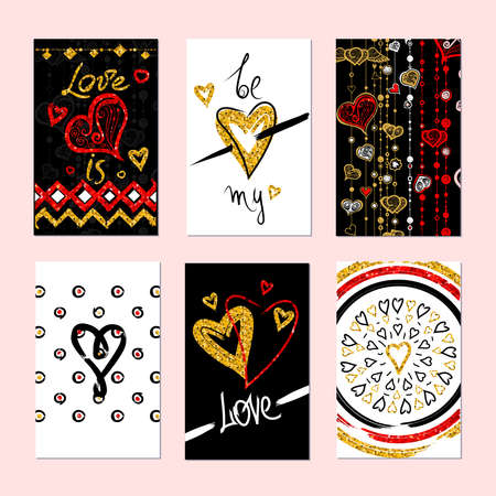 etnic: Set of gold and red texture Valentines Day greeting card. Stickers and gift tags.