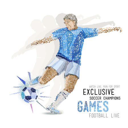 oncept: Concept of soccer player with ? colored dots assembled in figure football. ?oncept flyer Illustration