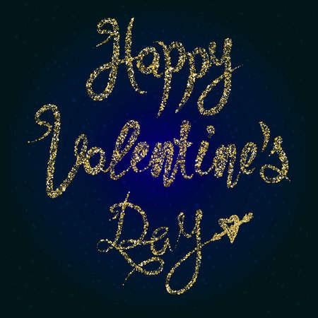 spilling: Happy Valentines lettering background from spilling golden lines Illustration