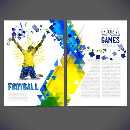 Flyer en un tema de fútbol. Pintado figura de un jugador de fútbol de puntos y formas geométricas.