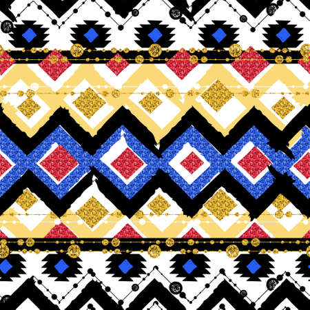 black and gold: Seamless patterns with blue, black, gold, zigzag lines and points, striped, gift boxes and dots.