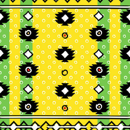 ethnic style: Seamless ethnic style patterns, zigzag lines and points, striped, gift boxes and dots.