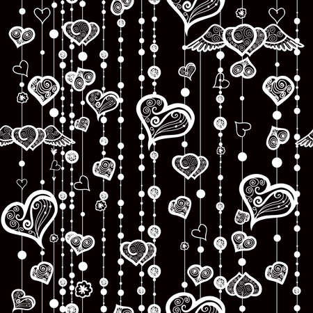 etnic: Seamless patterns of vintage hearts and lines with dots. Love background