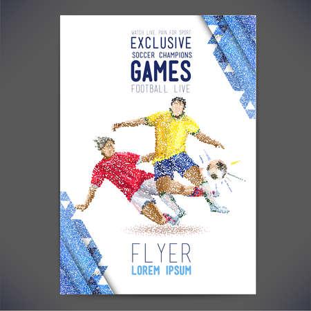 Concept van de voetballer met gekleurde stippen geassembleerd in figuur voetbal. Het concept flyer Stock Illustratie