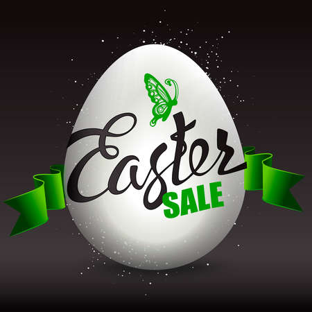 batterfly: Easter egg sale with the holiday signs on a black background. Hand lettering.