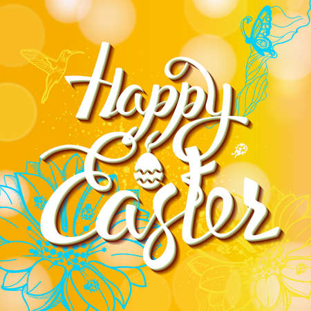 easter sign: Happy Easter sign, symbol,  yellow background with the flowers. Festive banner lettering. Illustration