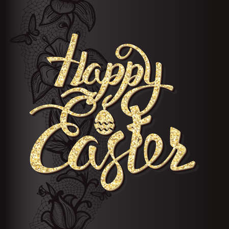 easter sign: Happy Easter sign letters of gold texture, symbol,  black background with pattern.