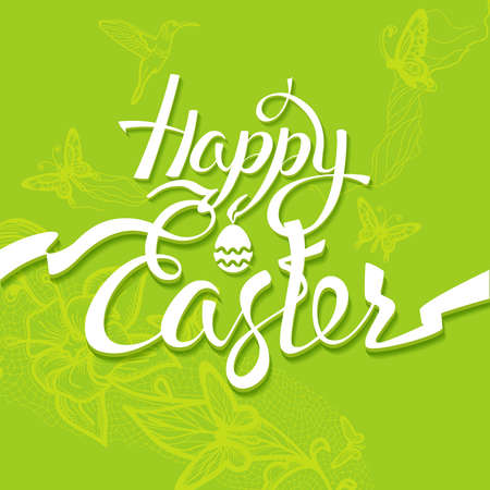 easter sign: Happy Easter sign, symbol,  green background. Festive banner lettering Illustration