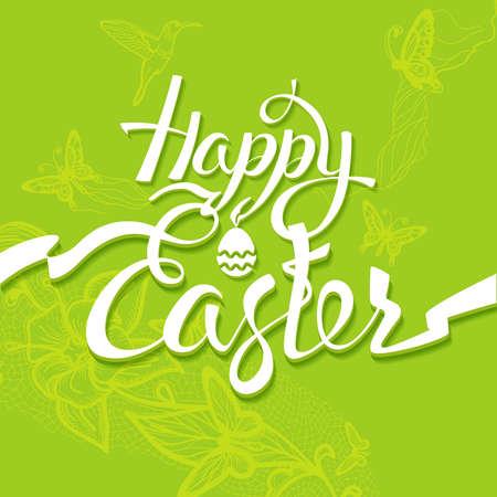 easter background: Happy Easter sign, symbol,  green background. Festive banner lettering Illustration