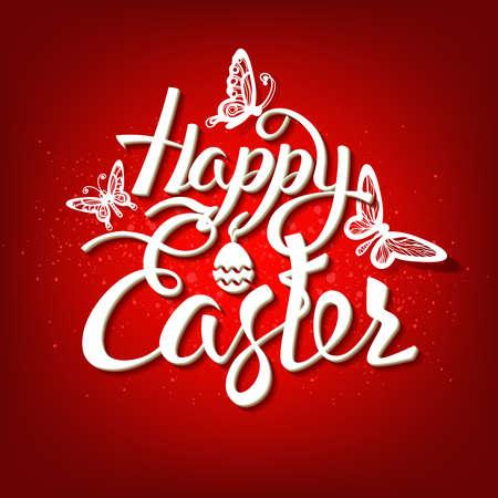 Signo de Pascua feliz, símbolo, logotipo sobre un fondo rojo. Letras de banner festivo