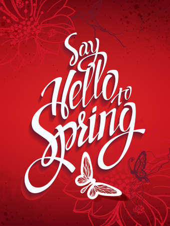 ester: Red spring background with signs and hummingbirds and butterflies. Banner theme of spring.