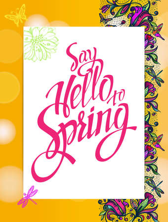 ester: Yellow spring background with hummingbirds and butterflies. Banner theme of spring. Illustration