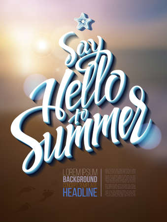 summer holiday: Hello summer poster inscription on a background seascape picture. calligraphy, lettering, symbol, logo.