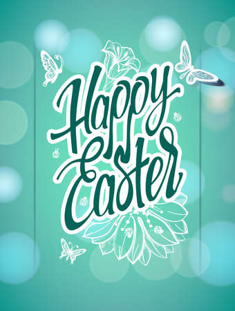 easter sign: Happy Easter sign, symbol, logo on a  green background with the flowers. Festive lettering. Illustration