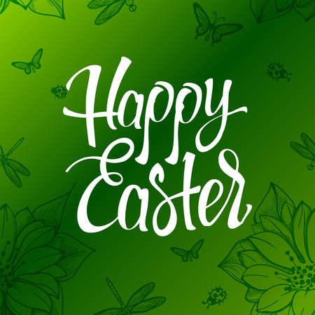 easter sign: Happy Easter sign, symbol, on a  green background with the flowers. Festive lettering.