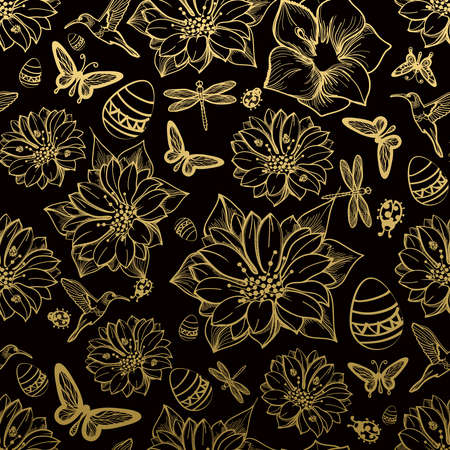 Seamless pattern flowers, butterflies, hummingbirds, gold background. Gold floral, black elements,flower line,gold thread pattern,gold seamless lace.Spring,summer theme. Packaging gifts Greetings