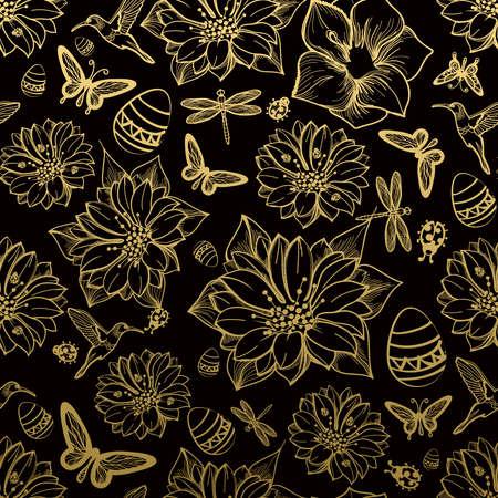 Naadloos patroon bloemen, vlinders, kolibries, gouden achtergrond. Gouden bloemen, zwarte elementen, bloem lijn, gouddraad patroon, goud naadloos lace.Spring, de zomer thema. Packaging geschenken Groeten Stock Illustratie