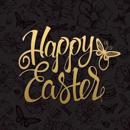 Happy Easter gouden teken, symbool, op een zwarte achtergrond. Feestelijke belettering. Pasen goud. Goud teken. goud tekens.